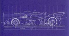 Batmobile Blueprint for Tim Burton's 'Batman' (1989) by Anton Furst (side view)