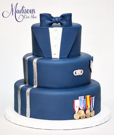 The bride wanted to surprise her groom with a special cake, so I designed this based off of his Air Force uniform!
