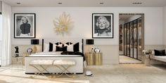 Auriu si opulenta intr-un decor absolut superb al dormitorului conjugal. #decorinteriordormitor, #amenajariinterioare