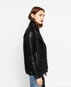 LONG LEATHER-EFFECT JACKET