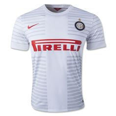 """According to Nike, the Inter Milan 2014/15 away kit boldly proclaims the club's status as """"the true team of Milan"""".  Inter Milan 2014 2015 Nike Home Football Kit, Soccer Jersey, Maglia  The new away shirt has a ribbed crewneck collar and is white with a tonal light gray graphic on the front that forms a St. George's cross from the city of Milan's coat of arms."""