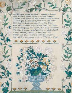 Eighteenth-century silk embroidered sampler
