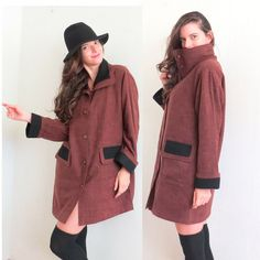 Winter Coat/ Womens Fall Brown and Black Mod long by VIntyOnline