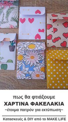 Φτιάξε μόνος σου χάρτινα φακελάκια. 6 πατρόν για εκτύπωση #minienvelopes #tutorial #diy #freeprintable Diy And Crafts, Crafts For Kids, Paper Crafts, Invite Your Friends, Free Printables, Diy Projects, Invitations, Creative, How To Make