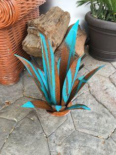 Rustic Blue Fine Agave,Agave,Sculpture,Garden Art,Metal Cactus,Metal Agave,Southwestern Decor,Rustic Decor,metal art,metal sculpture,art by TopangaPatina on Etsy