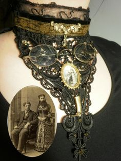 steampunk necklace featuring bearded lady photo