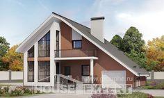 200-007-П Проект двухэтажного дома мансардный этаж, гараж, уютный домик из арболита