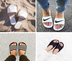 É Tendência: Chinelo Slide+ Onde comprar Adidas Slides Outfit, Lounge Outfit, Slide Sandals, Looking For Women, What To Wear, Kids Outfits, Shoes Sneakers, High Heels, Slippers