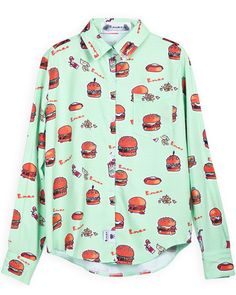 Blusa algodón estampada hamburgers-Verde EUR18.24 www.sheinside.com
