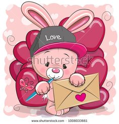 Valentine Card With Cute Cartoon Rabbit Stock Vector - Illustration of cute, backgrounds: 108314153 - - Valentine Cartoon, Valentines Anime, Valentines Games, Valentines Balloons, Cartoon Cookie, Cute Cartoon, Cartoon Rabbit, Cartoon Drawings, Cute Drawings