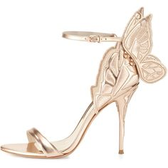 Sophia Webster Chiara Butterfly Wing Ankle-Wrap Sandal (2.119.660 COP) ❤ liked on Polyvore featuring shoes, sandals, metallic high heel sandals, ankle strap stilettos, open toe sandals, open toe high heel sandals and stiletto sandals