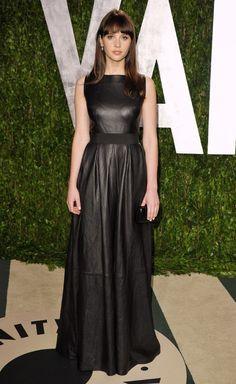 Felicity Jones in an edgy Johanna Johnson leather gown at the Vanity Fair Oscars Party