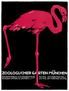 1057 German Zoological Art Flamingo Poster Graphics to Decorate Home Office | eBay