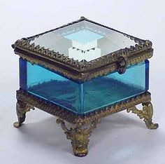 Victorian Blue Jewelry Ring Box Beveled Glass Top