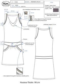 Elodie Aubry, Styliste / Infographiste Textile Portfolio : Prêt-à-porter femme : Fiche technique, prêt-à-porter femme