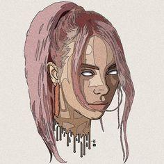 Billie eilish ��� в 2019 г. billie eilish, rapper art и drawings. Cool Art Drawings, Pencil Art Drawings, Art Sketches, Drawing Ideas, Billie Eilish, Rapper Art, Celebrity Drawings, Art Hoe, Trap