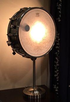 Vintage Snare Drum Table Lamp Musicians Lighting by LitforaQueen www.promusicianslist.com