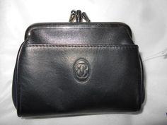 Buxton-Triple-Frame-Genuine-Leather-Coin-Purse-Black-Unused
