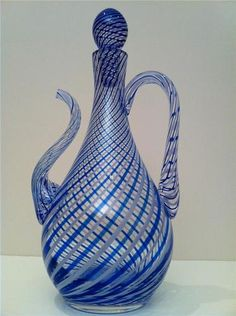 Venetian Soffiati French? highest Quality Heavy Glass Decanter