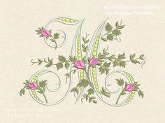 Monogram M from the beautiful alphabet. Font M от EmbroideryZone