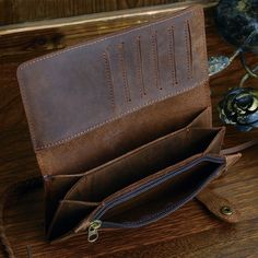 Designer Chain Leather wallet, long style Crazy Horse Natural Cowhide Vintage Waxed Leather Purse,with handmade woven rope,brown-in Wallets from Luggage & Bags on Aliexpress.com | Alibaba Group