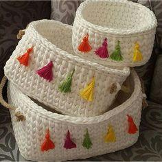 Haz tus propias cestas de ganchillo con trapillo   Aprendercrochet.com