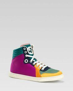 Gucci Coda High Top Satin Colorblock Sneaker  Bloomingdale's