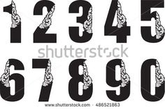 0 to 9 number floral dragon head vector style / Asia Laos fonts style design