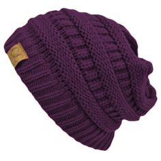 Purple Thick Slouchy Knit Oversized Beanie Cap Hat at Amazon Women s Clothing  store  Skull Caps c566ed300ad9