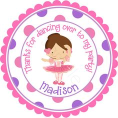 Ballerina Personalized Stickers  Party Favor Labels by partyINK, $6.00