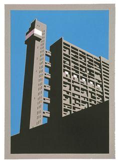 Paul Catherall - Trellick Tower lino print