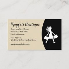 Womens Fashion Boutique Business Card Ladies apparel and fashion boutique business card design with image of a fun lady shopper with shopping bags in her hand and modern fashion layout with information fields you can replace with your own details. Created for a ladies clothing boutique, apparel store, or gift shop. #Fashion Fashion Business Cards, Shopping Bags, Modern Fashion, Business Card Design, Fashion Boutique, Fields, Things To Come, Layout, Clothes For Women
