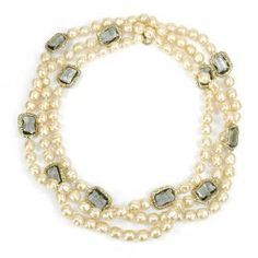 Vintage Chanel Stationed Smoky Crystal Pearl Necklace