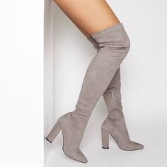 Adah Grey Suede Block Heel Thigh High Boots : Simmi Shoes