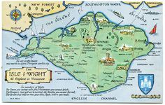 Postcard map of the Isle of Wight by Alwyn Ladell Drawn by M F Peck. J Salmon, Ltd. Postmarked Isle of Wight, Hurst Castle, Framed Prints, Canvas Prints, Isle Of Wight, Poster Size Prints, Print Map, Portsmouth, British Isles, Cards