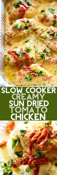 Slow Cooker Creamy Sun Dried Tomato Chicken – Chef in Training Slow Cooker Creamy Sun Dried Tomato Chicken… A delicious and creamy chicken recipe that is loaded with amazing flavor! The sun dried tomatoes and basil truly make this meal outstanding! Crockpot Dishes, Crock Pot Cooking, Crock Pot Slow Cooker, Slow Cooker Recipes, Cooking Recipes, Healthy Recipes, Crockpot Meals, Delicious Recipes, Crock Pots