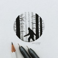 """SASQUATCH  How many people think they've seen one?  #Sasquatch #Bigfoot #art #illustration"""