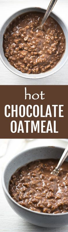 This rich and creamy hot chocolate oatmeal is a dream come true for all chocoholics. It's super easy and quick to make, will satisfy your chocolate craving and fill you up at the same time. You can make it with regular whole milk or make it vegan with a non-dairy milk. Made using only real food ingredients. #chocolate #oatmeal #vegan #vegetarian #cleaneating #healthy #recipe #realfood