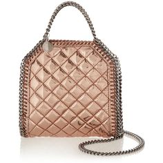 Stella McCartney The Falabella tiny metallic faux patent-leather... ($700) ❤ liked on Polyvore featuring bags, handbags, shoulder bags, metallic, quilted shoulder bag, stella mccartney handbags, quilted chain handbags, metallic purse and shoulder hand bags