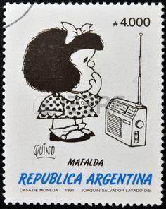 ARGENTINA - CIRCA 1991: Un sello impreso en la Argentina muestra Mafalda, una tira cómica escrita y dibujada por el dibujante argentino Quino, alrededor del año 1991