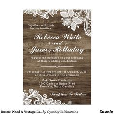 256836314659566603 Rustic Wood & Vintage Lace Wedding Invitation - Rustic barn wedding invitations - Rustic country wedding invitations - Rustic wood wedding invitations - Barn wood wedding invitations - Country and western wedding invitations Country Wedding Invitations, Beautiful Wedding Invitations, Rustic Invitations, Bridal Shower Invitations, Invitation Cards, Invitation Ideas, Invitation Design, Wedding Stationery, Personalized Invitations