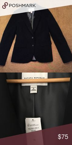 Banana Republic stretch wool business jacket Black stretchy wool business jacket, fully lined.  Also have skirt available for sale. New with tags. Banana Republic Jackets & Coats