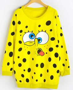 Yellow Long Sleeve SpongeBob Print Sweatshirt 19.00