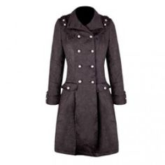 Black Brocade Military Button Up Coat