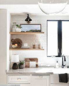 Kitchen Wall Shelves, Kitchen Shelf Decor, Floating Shelves Kitchen, Wood Shelves, Kitchen Ideas, Floating Shelf Decor, Kitchen Interior, Kitchen Design, Mini