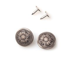 10 Sets DIY No Sew Metal Jean Tack Buttons 20mm with Photo Manual / Antique Silver Camomile _20mm ** Click image for more details.