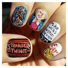 """Stranger Things"" Inspired Nail Art Ideas Will Make You Crave For More... ❤ liked on Polyvore featuring beauty products and nail care #nailcareideas"