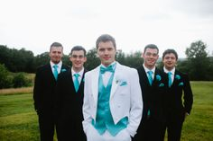 Groomsmen with tissue paper boutonnieres (Maggie & Jeremiah's wedding) #wedding #tissuepaper #boutonnieres #aquablue