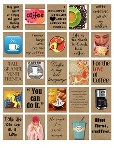 "Coffee Life Planner Printable 1.5""x1.9"" stickers for your erin condren life planner weekly boxes. by ArtByMarnie on Etsy"