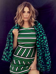 Ashley Benson poses in striped green Lanvin dress with jacket for Ocean Drive Magazine January 2016 issue